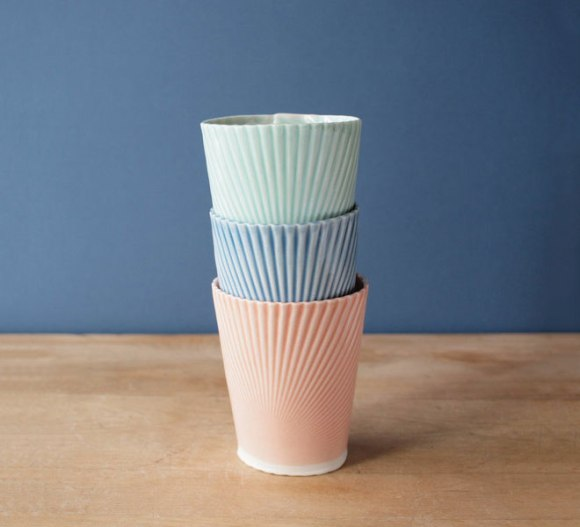 Porcelain cups by Villarreal ceramics